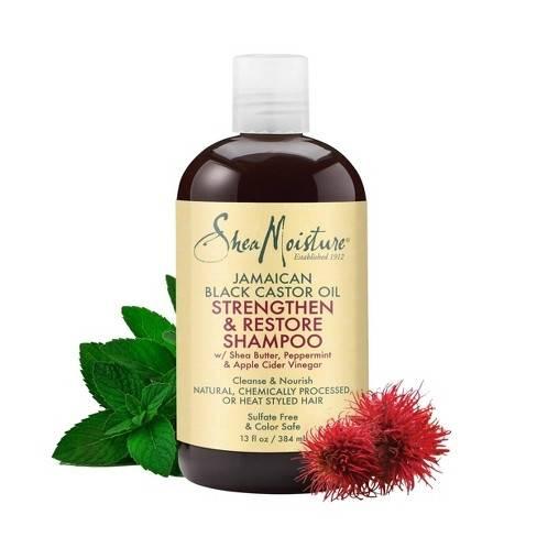 Shea Moisture Jamaican Black Castor Oil Shampoo Възстановяващ ускоряващ растежа на увредената третирана  коса шампоан 384 ml