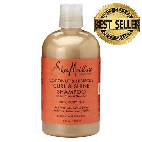 Shea Moisture COCONUT & HIBISCUS CURL & SHINE  Подхранващ шампоан за гъста къдрава коса  384 мл