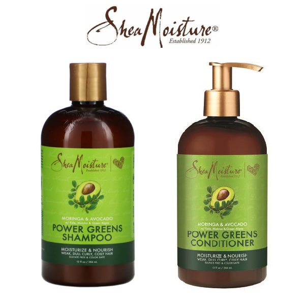 Shea Moisture Power greens Комплект енергизиращи шампоан+балсам за чупливи и къдрави коси