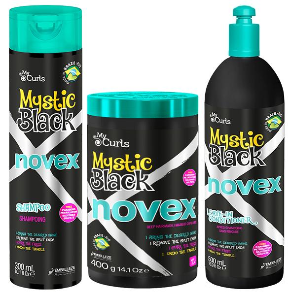 NOVEX MYSTIC BLACK Комплект шампоан + маска+ Live-in за къдрави коси